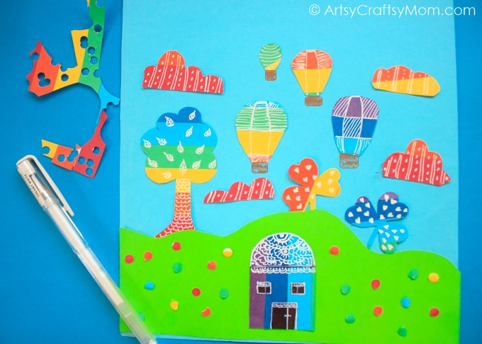 Rainbow Paper Collage Art for Kids - Create Rainbow Colored Paper and use it to make a Vibrant, one of a kind Collage art with your kids.