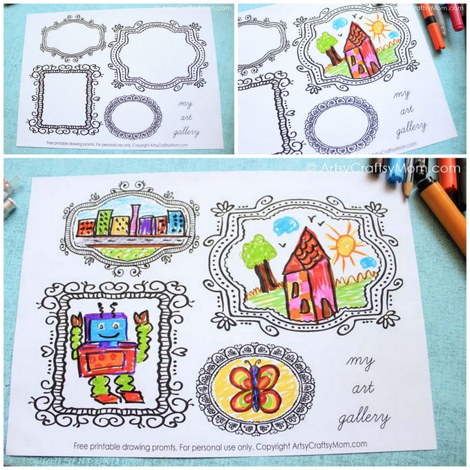 Cheap Frames From The Craft Store And Imagination: Printable Blank Frames Drawing Prompts To Spark Your Child