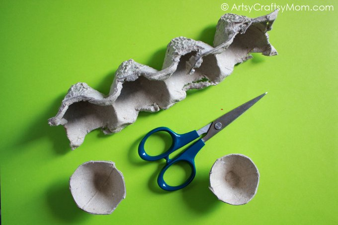 This Egg Carton Mushroom Craft for Kids is super easy to make and will remind you of the Smurfs' cute houses! With an egg carton & paints, you're all set!