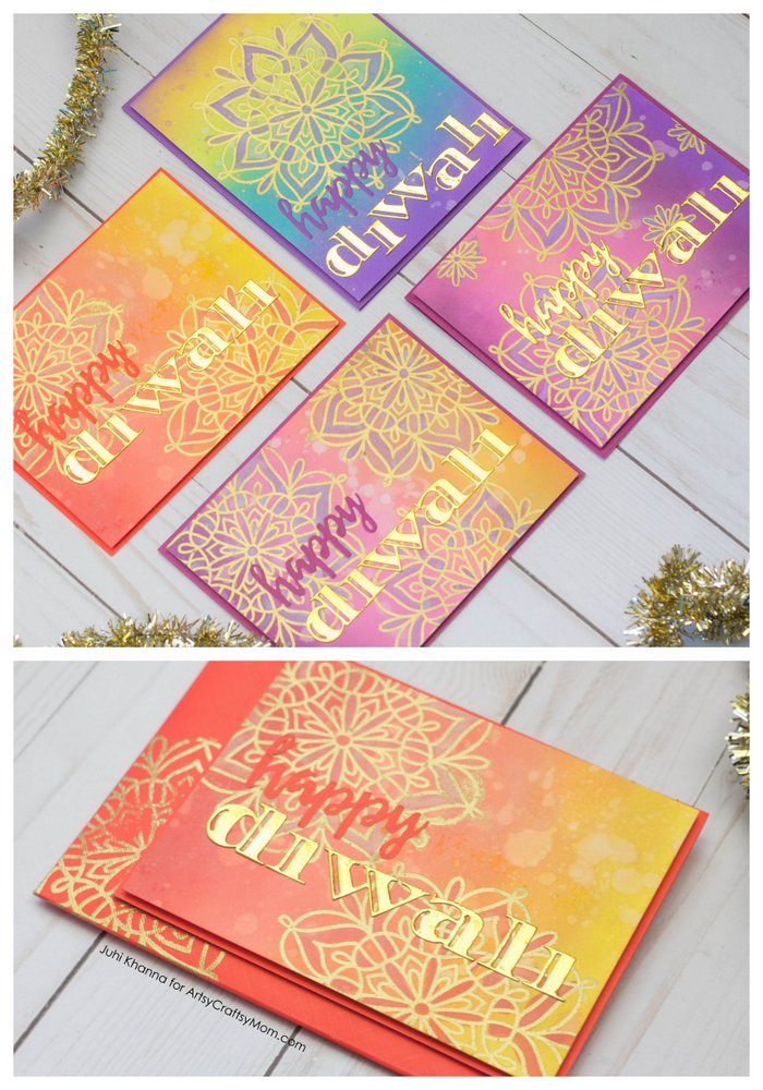 Recreate your Childhood Diwali Memories with these colorful Diya and Rangoli Inspired Diwali Cards that kids can Make at Home.
