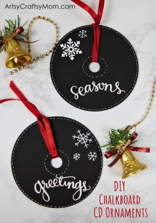 DIY Chalkboard Paint CD Ornaments for Christmas