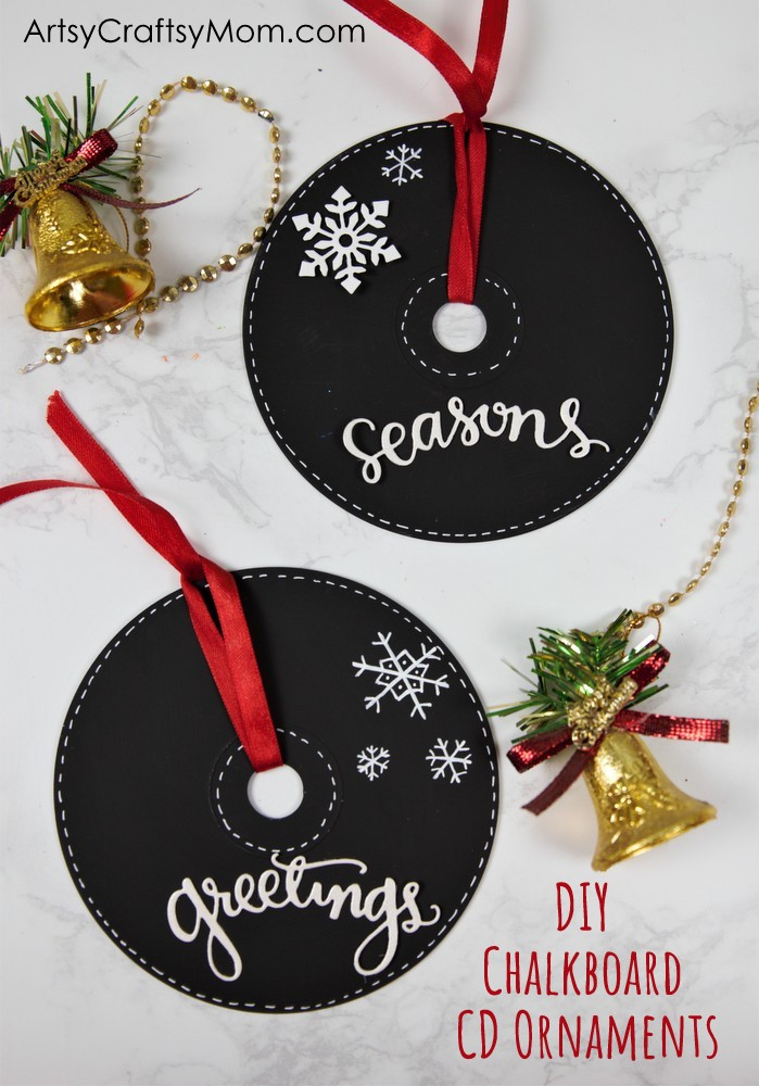 Deck up your Christmas Tree the DIY way with these pretty Chalkboard Paint CD Ornaments! Perfect to keep for yourself or to give as holiday gifts!
