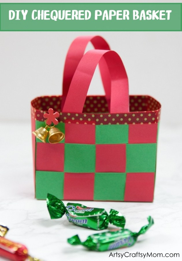 This DIY Christmas Paper Basket is the perfect craft to make and gift this holiday season! Fill it with candy, ornaments or tiny little gifts!