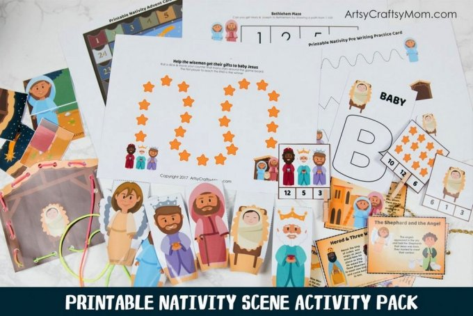 24 Page Full-Color, Printable Nativity Themed Activity Pack that includes math and literacy activities as well as a Puppets, Puzzles & File Folder games.
