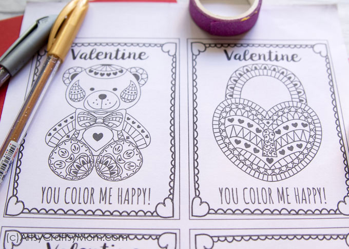 Valentine Coloring Cards To Make - Worksheet & Coloring Pages