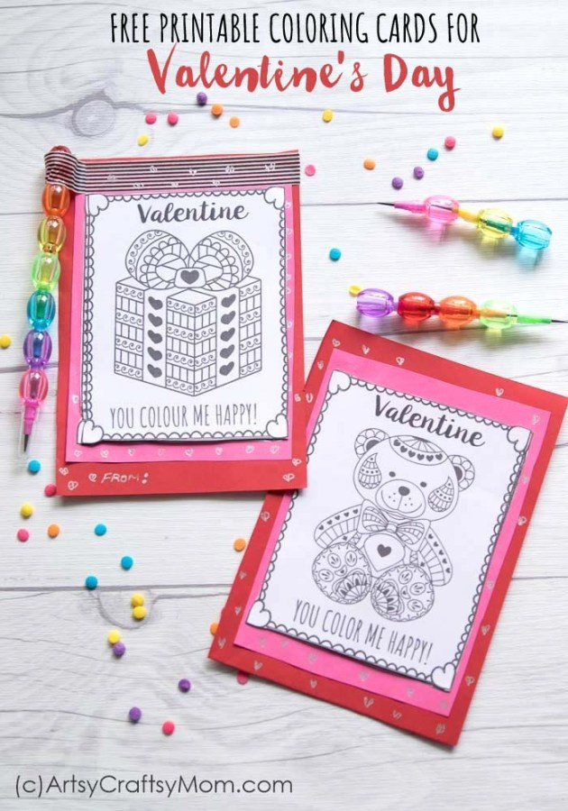 Free Printable Coloring Cards for Valentines Day