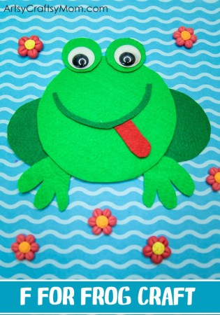 F for Frog Craft with Printable Template