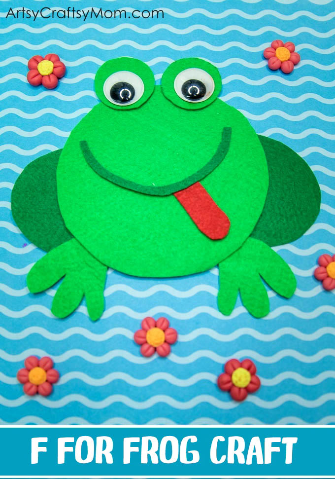 F for Frog Craft with Printable Template - Artsy Craftsy Mom
