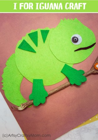 Make this adorable I for Iguana Craft using our Printable Template that's perfect for learning about herbivores, lizards, the reptile family, tropical forest, or Letter I