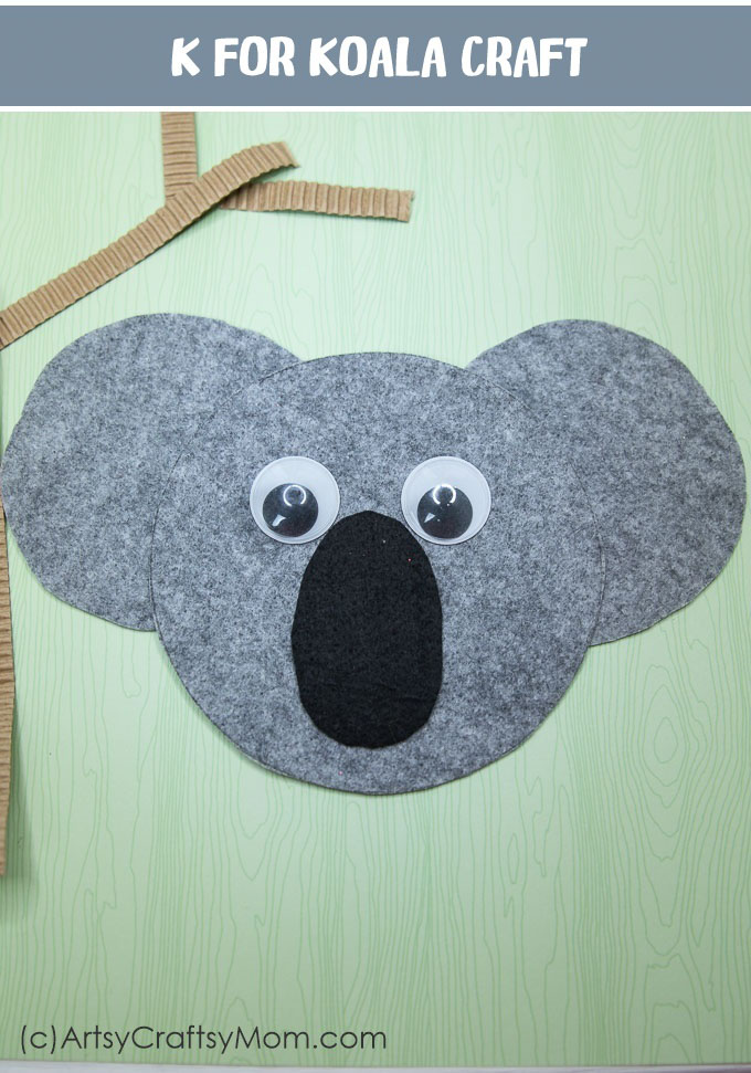 Make a K for Koala Craft using our Printable Template that's perfect for learning about Australian animals, Marsupials, mammals,  Australia day or the Letter K