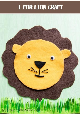 L for Lion Craft with Printable Template