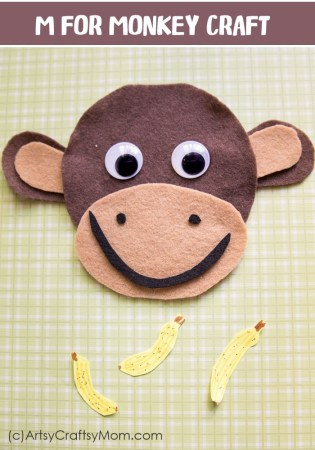 Make this adorable M for Monkey Craft using our Printable Template that's perfect for a jungle themed party, Chinese New Year or Letter M Activity