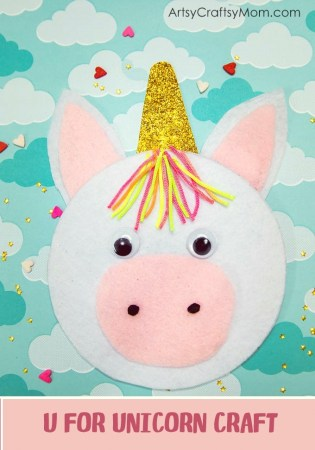 U for Unicorn Craft with Printable Template
