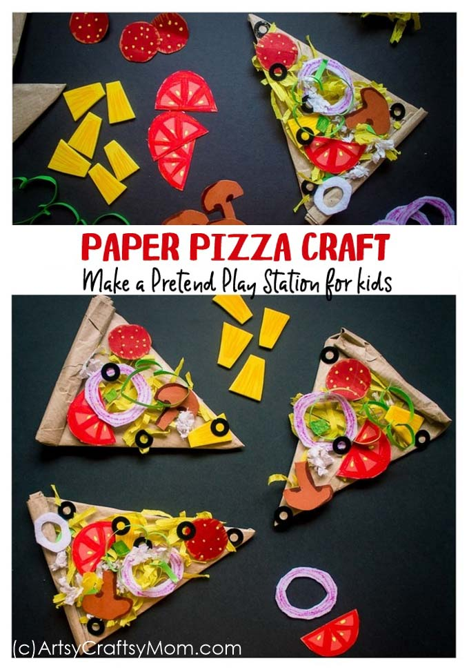 Set up your play food counter with a kiddie favorite - pizza and make it & Pretend Play Food - Paper Pizza Craft for Kids