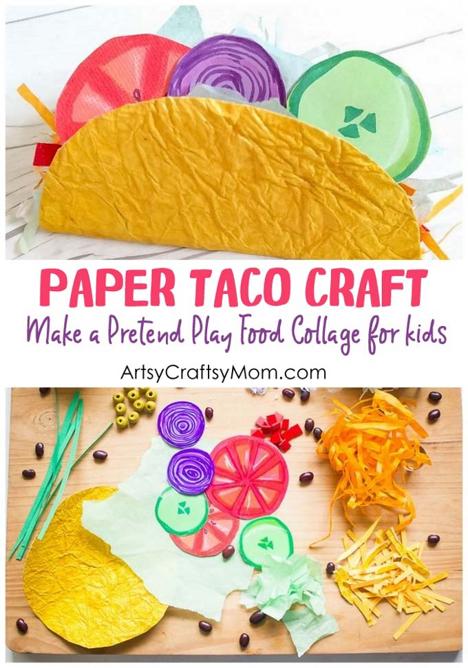 Pretend Play Food Collage - Paper Taco Craft for Kids