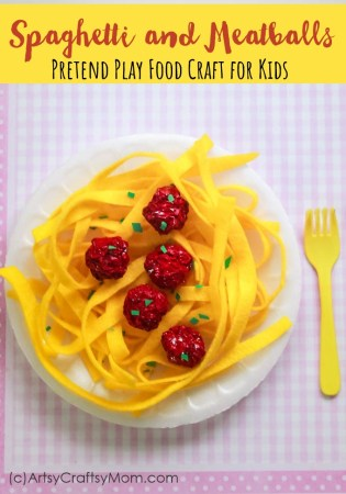 Pretend Play Food Spaghetti and Meatballs Craft for Kids