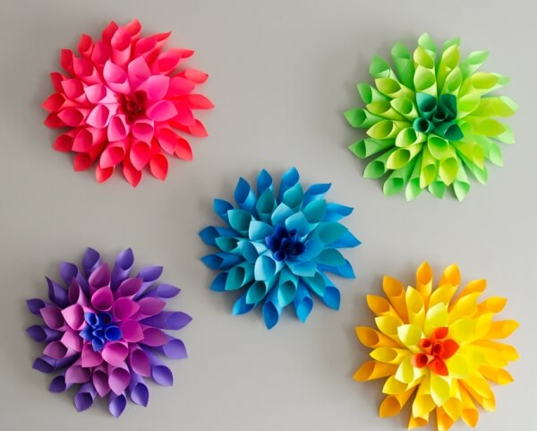 25 gorgeous paper flower crafts for kids that are perfect for summer rainbow paper dahlia flowers flower crafts for kids mightylinksfo