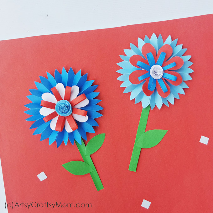 Celebrate the American spirit in classic American colors with this 4th of July Paper Flower Craft for kids, perfect for Independence Day!