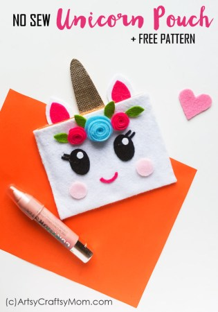 No Sew Felt Unicorn Pouch + Free Template | Unicorn Craft for teens