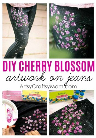 DIY Cherry Blossom Art on Jeans  - Transform a boring looking jeans into a gorgeous fashion statement that your teen can flaunt just in time for back to school.