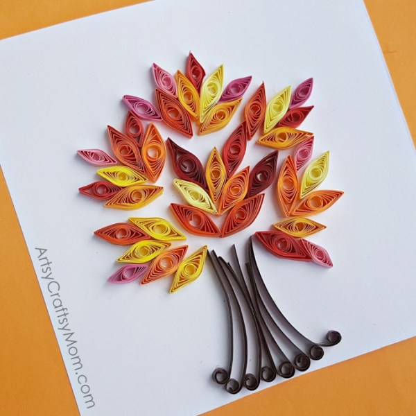 Make an Easy Paper Quilling Fall Tree Craft using 5mm quilling paper or strips of Construction Paper ~ Autumn Crafts for Kids