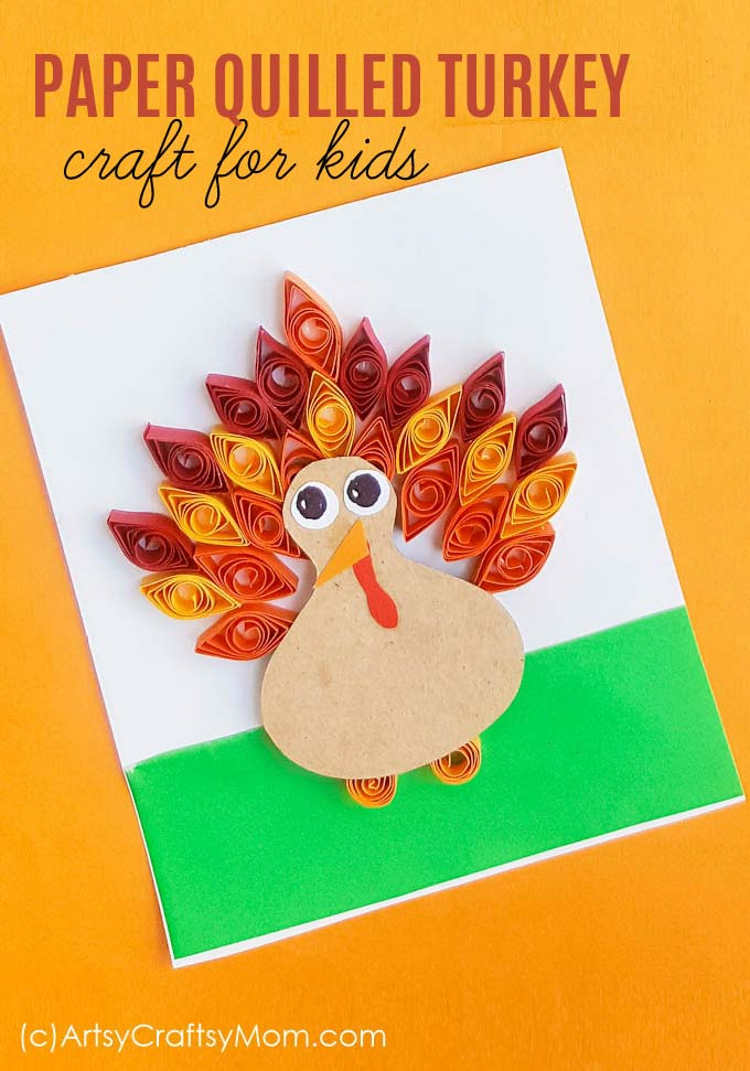 Diy Paper Quilled Turkey Craft For Kids Autumn Fall Craft
