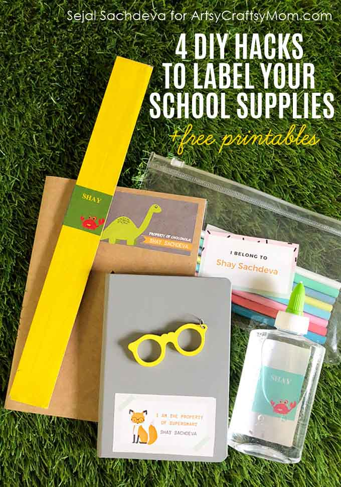 Here are 4 DIY Hacks to Label Your School Supplies + Free Printable. Back to School Ideas to help you organize and to add your child's name to all of their supplies