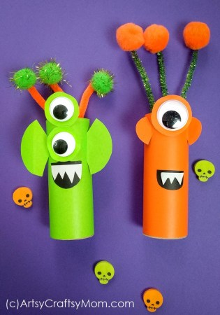 Cardboard Tube Aliens | Halloween Crafts for Kids