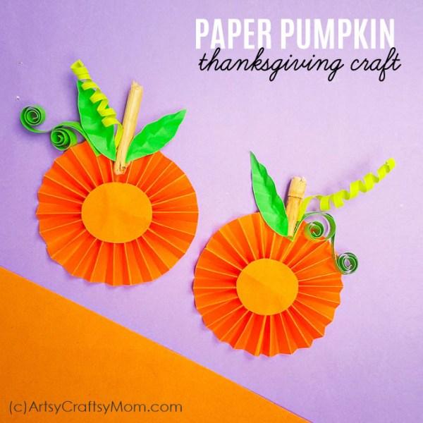 Easy Paper Pumpkin Thanksgiving craft