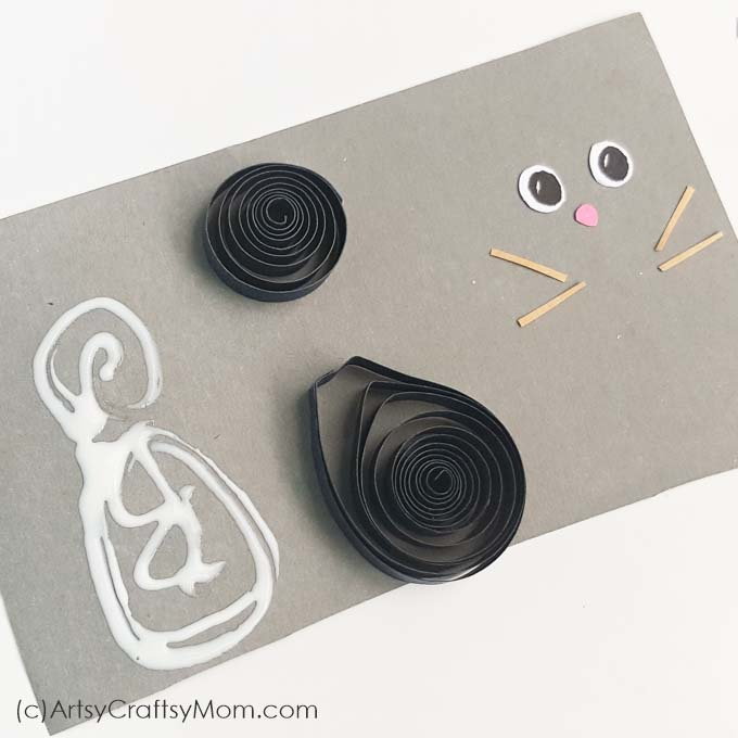 The paper quilling black cat craft brings together elements of fun and spookiness in equal parts. A Halloween card kids would love to create.
