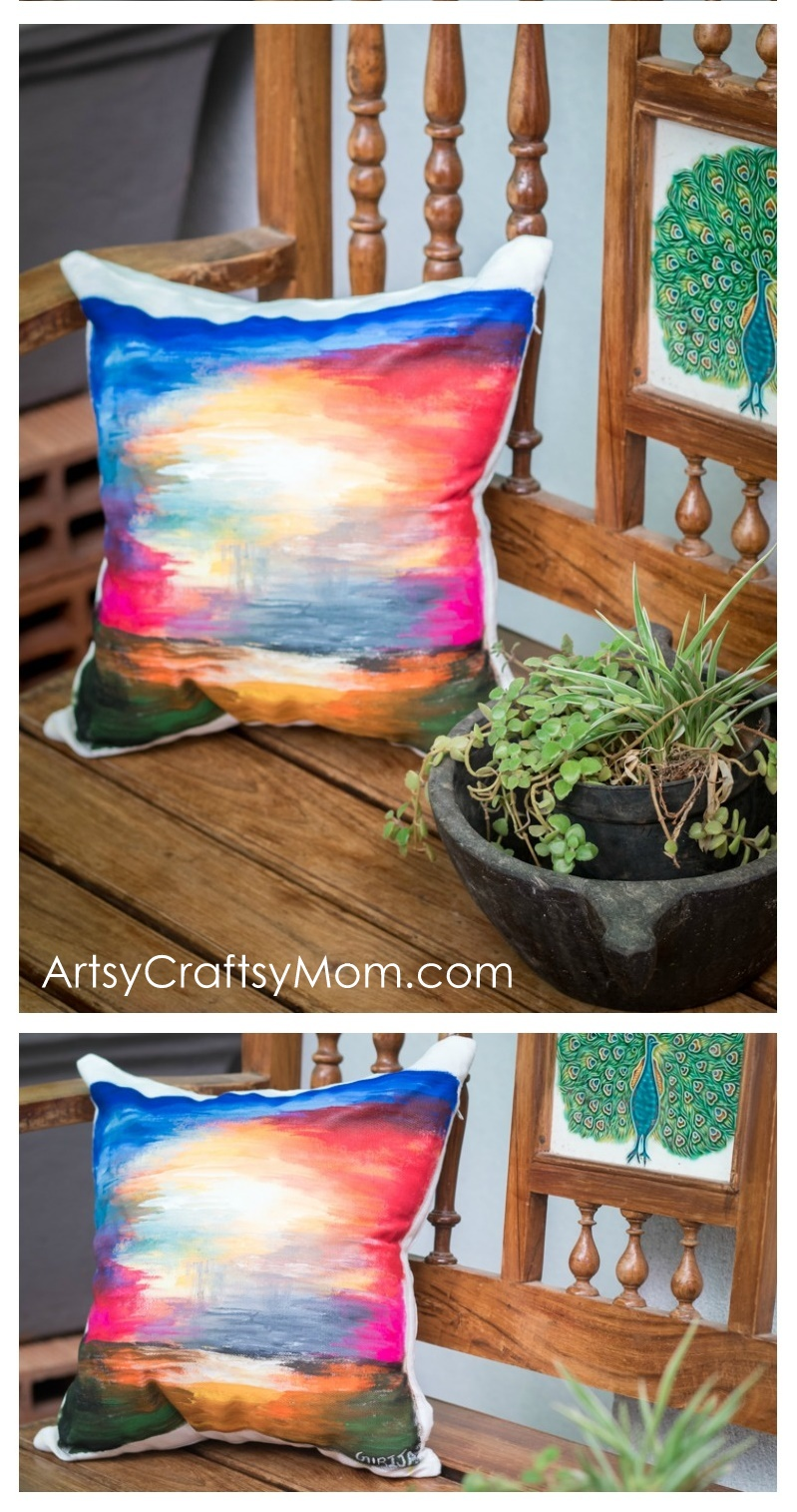 Sunset Art Pillow Cover Painting Tutorial using Fevicryl Fabric Colors - Take a paintbrush to your throw pillows for a one-of-a-kind DIY that will wow you! #FabricPeFevicryl #FevicrylKalaStars