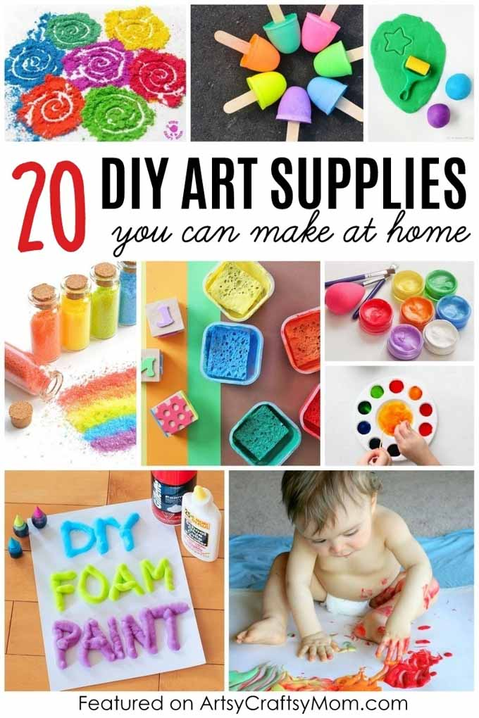 20 DIY Art Materials for kids - Make Homemade Play Dough, Glitter glue, Finger Paint, Watercolor, Stamps, Chalk Paint, DIY Glitter, Puffy Paint, Rangoli & more!