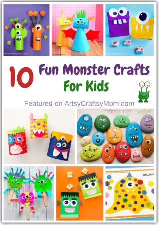 Monsters can be big or small, tiny or tall - but they can certainly be colorful & fun! Here are 10 easy & fun monster crafts for kids to make for Halloween!