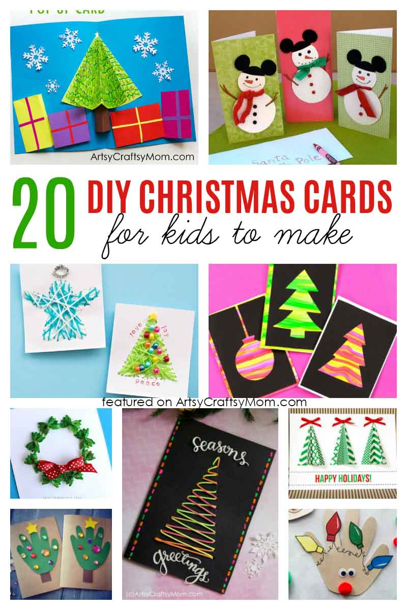 20 simple and sweet diy christmas card ideas for kids. Black Bedroom Furniture Sets. Home Design Ideas