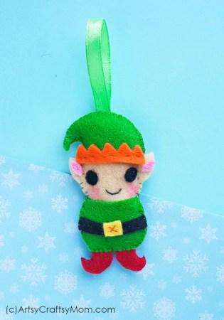Felt Elf Christmas Ornament Craft + Free Template