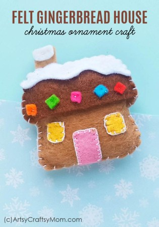 DIY Felt Gingerbread House Christmas Ornament + Free Template