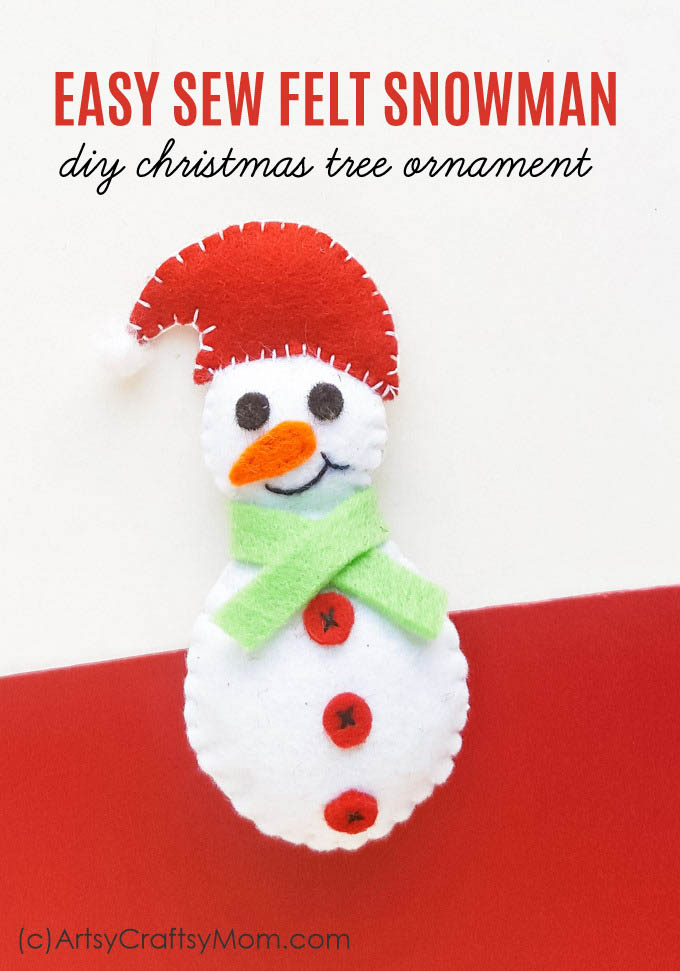 photo regarding Free Printable Christmas Ornament Templates called Felt Snowman Xmas Ornament + Free of charge Template
