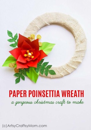 Paper Poinsettia Wreath Christmas Craft
