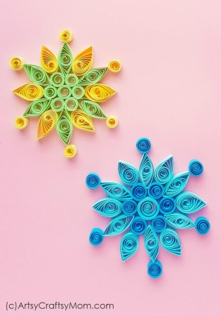 Make this pretty paper quilled snowflake craft to decorate your holiday cards, gifts or your room! Check out the full tutorial for detailed steps.