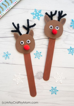 Let little kids get crafty and have a blast with this Popsicle Stick Reindeer Craft! Rudolph, the red nosed reindeer, never looked so cute!