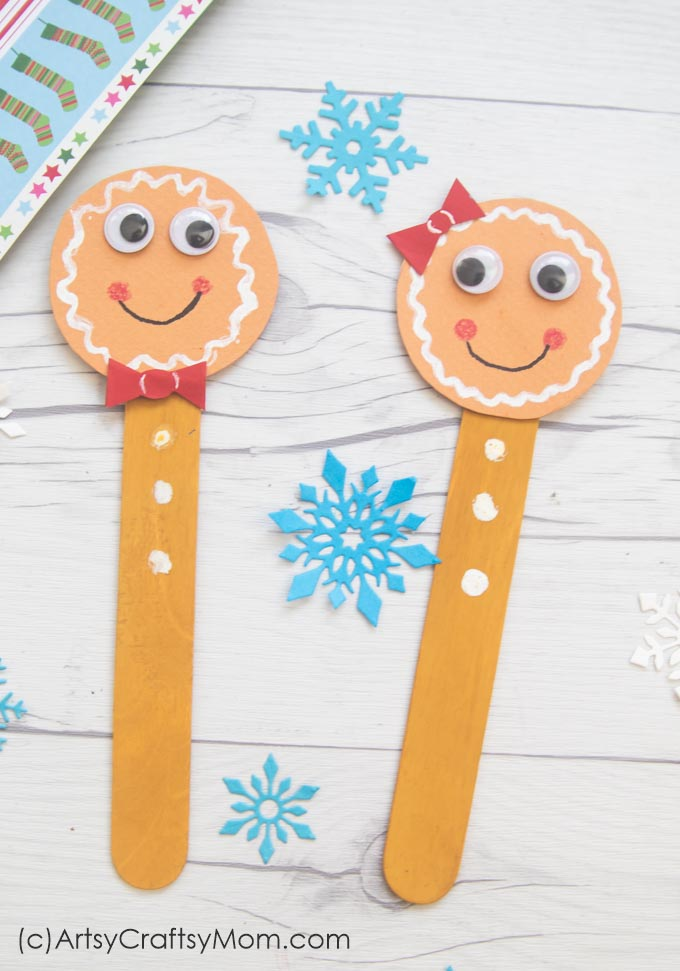 Gather your craft sticks to make this super easy Popsicle Stick Gingerbread Man! Perfect for hanging on your tree or as a cute bookmark!