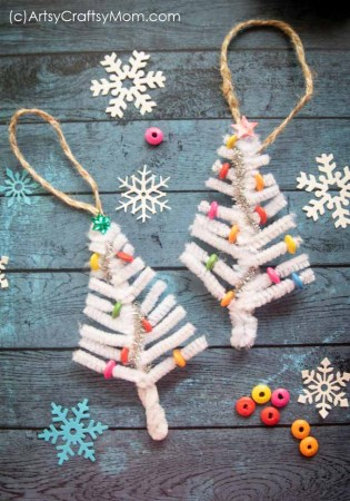 White Pipe Cleaner Christmas Tree Ornament Craft