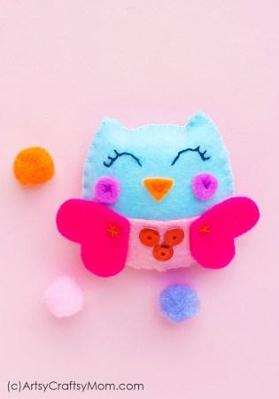 Handmade Felt Valentine Owl – Classroom Valentine Craft