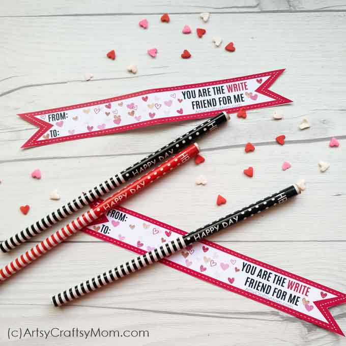Get punny this season with these 'You are the WRITE friend For Me' Free Printable Valentine Tags to attach to your pencils or any other gift!