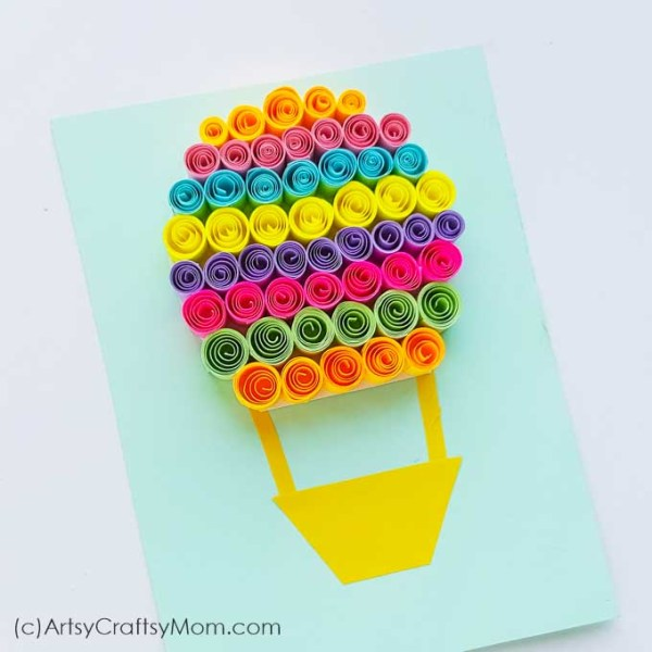 """Celebrate your current and future journey with a Paper Quilled Hot Air Balloon Craft inspired from the popular """"Oh, the Places You'll Go!"""" book by Dr Seuss."""