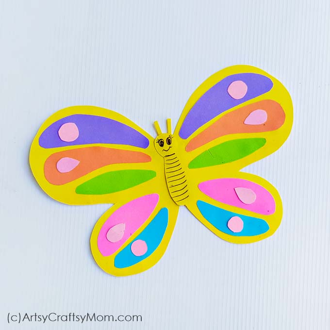 The flowers have bloomed and the butterflies are out and about! Celebrate spring with this Paper Butterfly Craft for kids, with a free template to download!