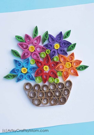 Paper Quilled Spring Flower Basket Card