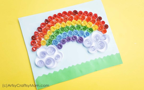 Welcome spring with a burst of color in this Quilled Rainbow Craft, perfect for St Patrick's Day! Makes a lovely spring theme wall art for kids' rooms.