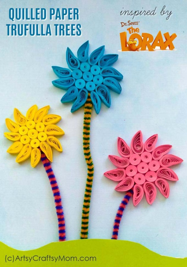 Put your quilling skills to use with these Quilled Paper Truffula Trees! Use this craft as an accompaniment to the famous book, 'The Lorax', by Dr Seuss.