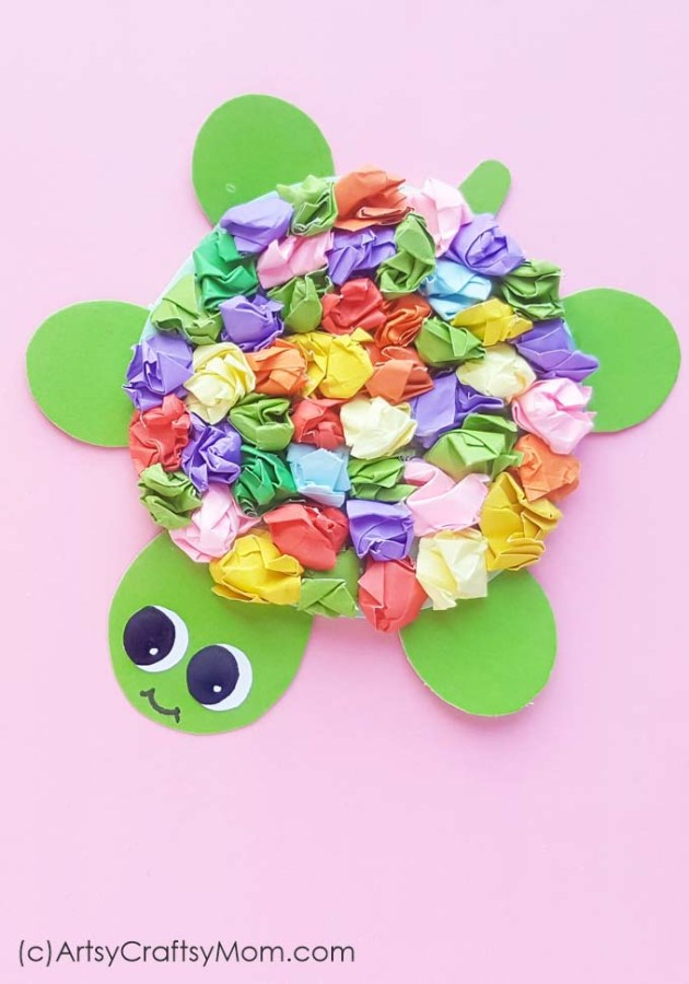 Whether it's Kroopa Troopa from Mario or Yertle the Turtle from Seuss, turtles are quite popular! Now have your own pet with a Crumpled Paper Turtle Craft!